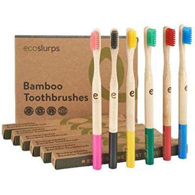 EcoSlurps 6 Paquete familiar de cepillos de dientes de bambú