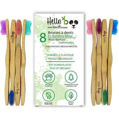 Cepillo de dientes de bambú para adultos y adolescentes |Juego de 8 cepillos biodegradables de cepillo de dientes