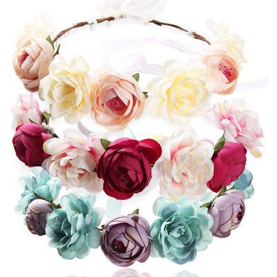 REKYO 3pcs Flor Hecha a Mano Diadema Corona Floral