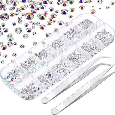 Diamantes de Imitación de Uñas Cristal AB y Cristal Transparente Gemas de Vidrio Redondas de Arte de Uña y 2 Pinzas con Estuche Organizador de Almacenaje