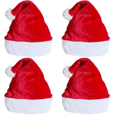 Sombrero De Santa 4 Piezas Unisex Sombreros Rojos De Navidad