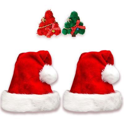 2 Gorros de Papa Noel + 2 Pinzas de Pelo