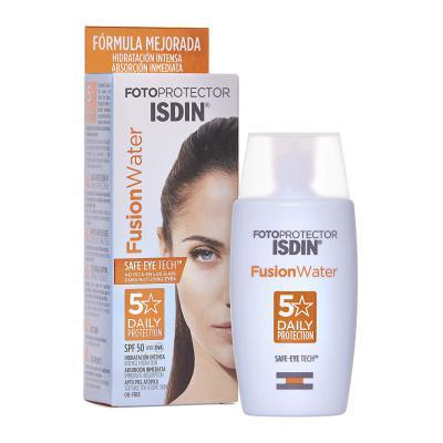 ISDIN, Fotoprotector Fusion Water SPF 50, Protector solar facial de fase acuosa para uso diario, 50 ml