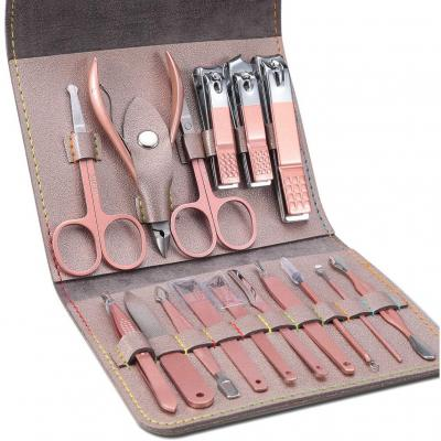 Manicura Pedicura Set 16 PCS Profesional Cortaúñas Acero Inoxidable Grooming Kit