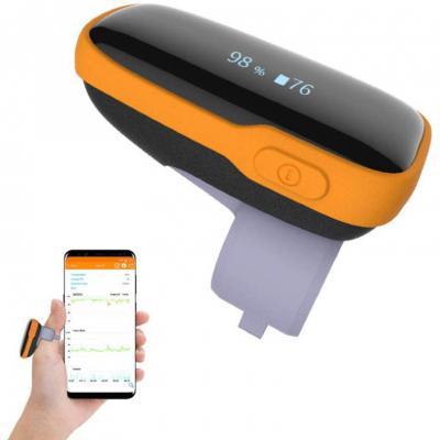 Monitor de saturación de oxígeno en tiempo real portátil Viatom WearO2 con alarma de vibración e informe de aplicación de frecuencia cardíaca y O2 gratuito.
