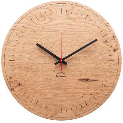 Huamet. Reloj de pared de madera de roble con batería