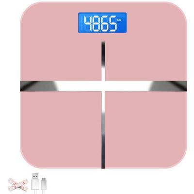 Báscula de baño digital de peso corporal con cinta métrica para el cuerpo y diseño de esquina redonda